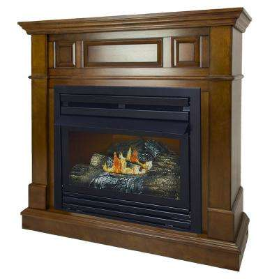 27,500 BTU 42 in. Convertible Ventless Propane Gas Fireplace in Heritage