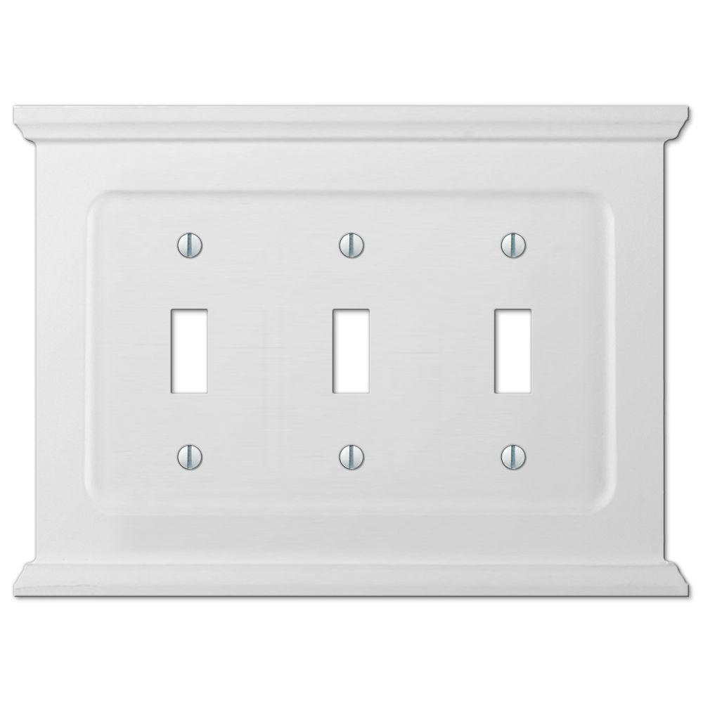 Amerelle Mantel Wood 3 Toggle Wall Plate White