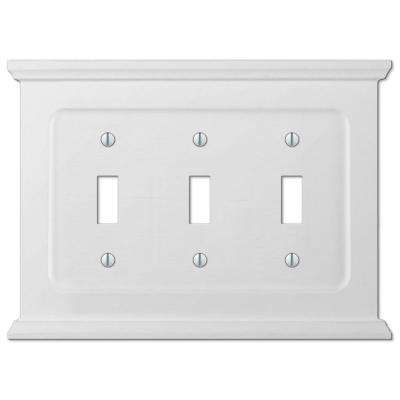 Mantel Wood 3 Toggle Wall Plate - White