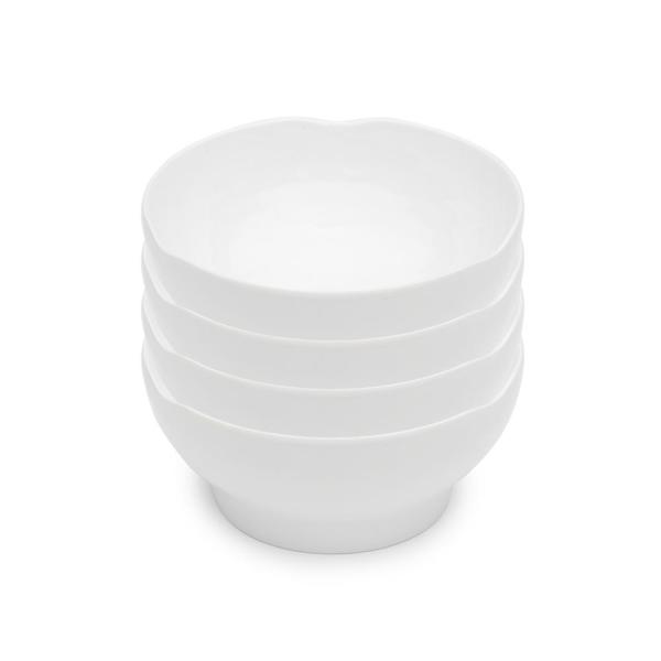 Pearl 4-Piece 6.5 in. White Melamine Cereal Bowl Set