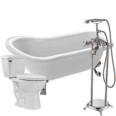 Pegasus 5 ft. Acrylic Clawfoot Non-Whirlpool Bathtub in White with Tugela Faucet and Cavalier 1.28 GPF Toilet