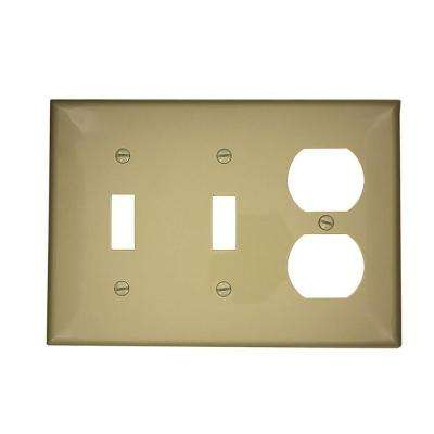 3-Gang Standard Size 2-Toggles 1-Duplex Receptacle Nylon Combination Wall Plate, Ivory