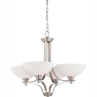 4-Light Brushed Nickel Chandelier with Frosted Glass Shade