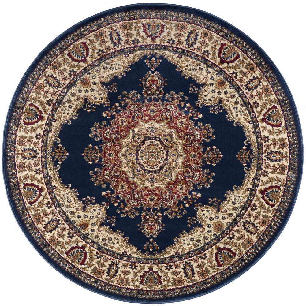 Sensation Navy Blue 5 ft. 3 in. Traditional Round Area Rug