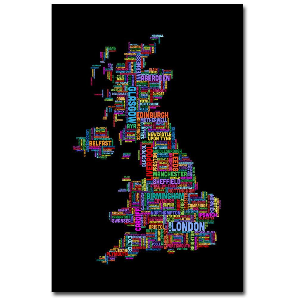 Trademark Fine Art 22 in. x 32 in. UK - Cities Text Map III Canvas Art-DISCONTINUED