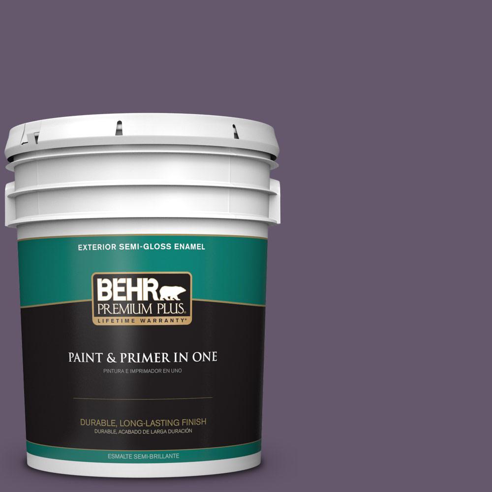 5 gal. #PPU17-04 Darkest Grape Semi-Gloss Enamel Exterior Paint