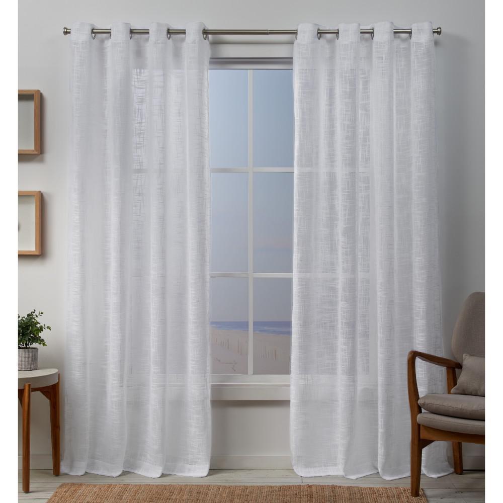 Sena 54 in. W x 96 in. L 2-Way Slub Yarn Grommet Top Curtain Panel in White (2-Panel)