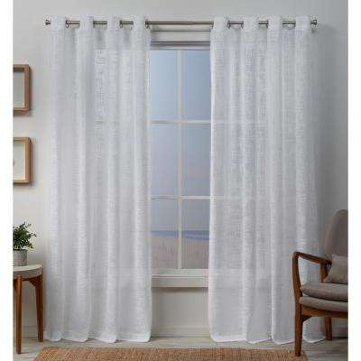 Sena 54 in. W x 96 in. L Sheer Grommet Top Curtain Panel in White (2 Panels)