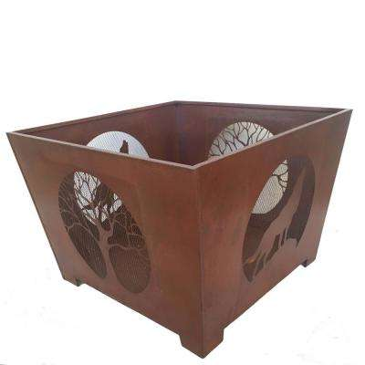 Wolf 24 in. x 16 in. Square Steel Wood Burning Fire Pit in Rust