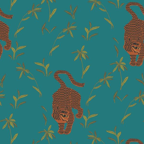 Mitchell Black Nomad Collection Stalking Tiger in Jewel Premium Matte Wallpaper