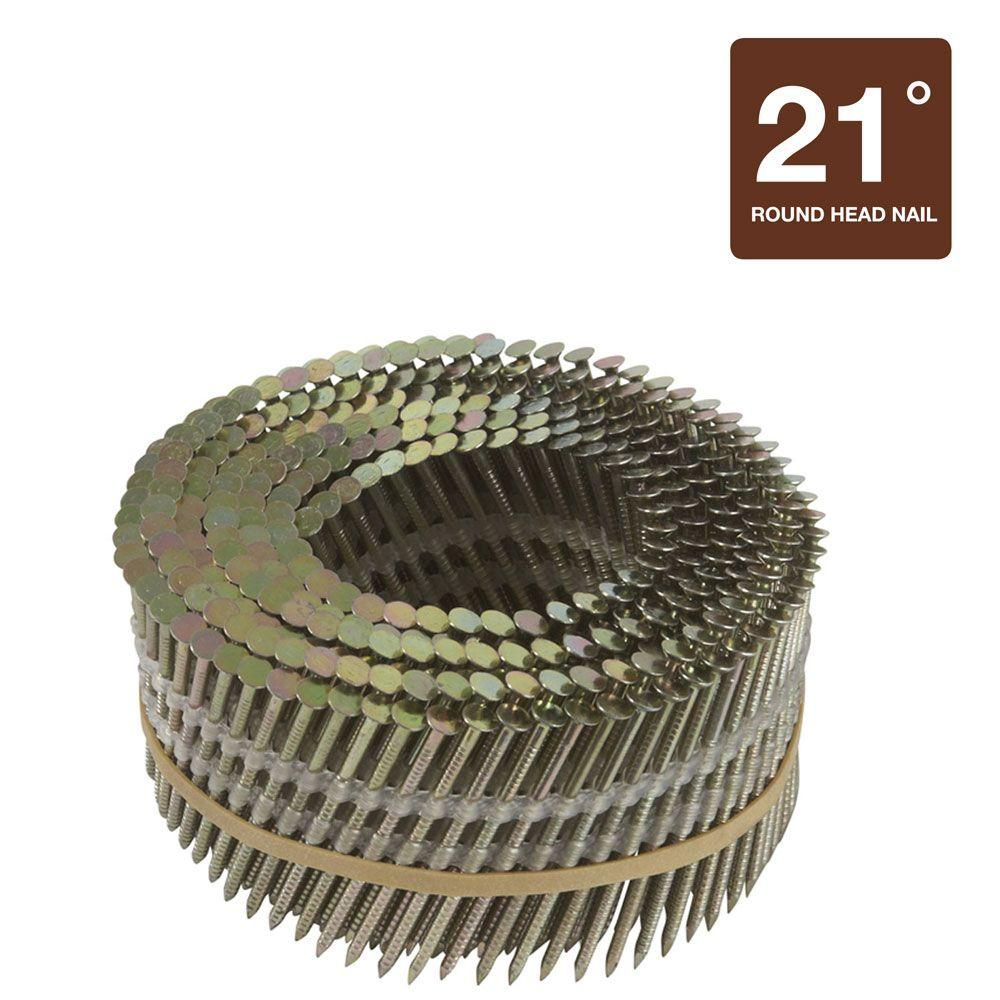 Hitachi 2-1/4 in. x .092 in. Full Round-Head Smooth Shank Electro Galvanized Plastic Coil Nails (7,200-Pack)