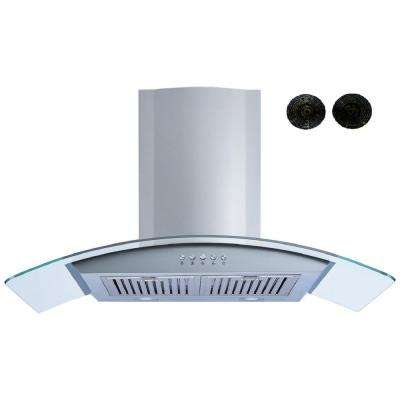 36 in. Convertible Wall Mount Range Hood in Stainless Steel and Glass with Push Button, Baffle and Carbon Filters