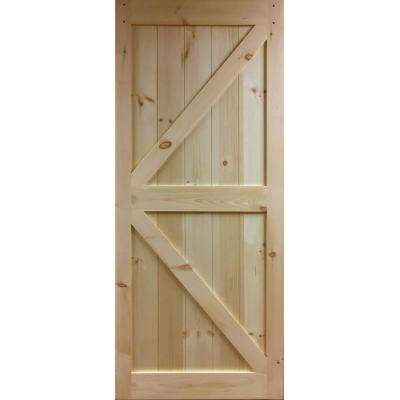 36 in. x 83.5 in. K-Bar Solid Core Pine Unfinished Interior Barn Door Slab