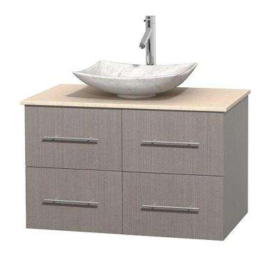 Centra 36 in. Vanity in Gray Oak with Marble Vanity Top in Ivory and Carrara Sink