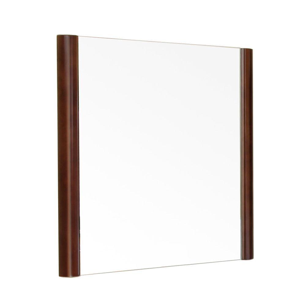 Ashworth 26 in. L x 26 in. W Solid Wood Frame Wall Mirror in Walnut