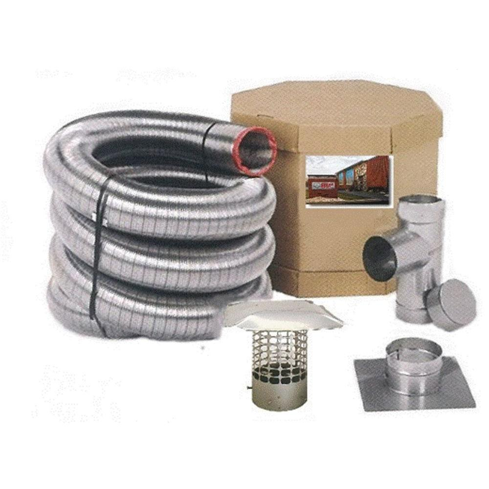 Chim Cap Corp 4 in. x 20 ft. Smooth Wall Stainless Steel Chimney Liner Kit