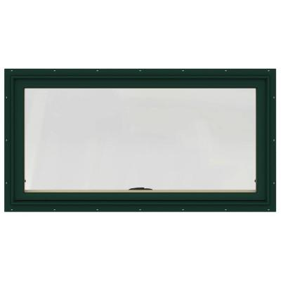 JELD-WEN 48 in. x 24 in. W-2500 Series Green Painted Clad Wood Awning Window w/ Natural Interior and Screen