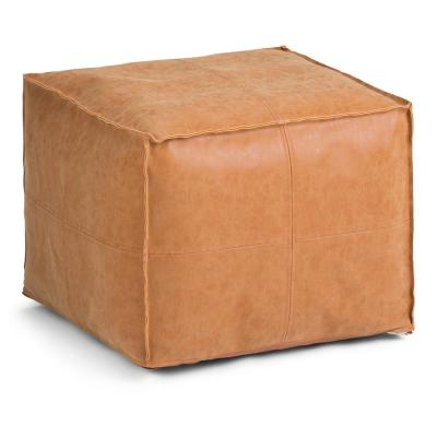 Brody Transitional Square Pouf in Distressed Brown Faux Leather