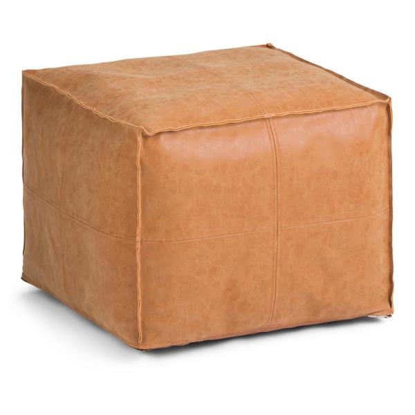 Simpli Home Kearney Transitional Round Pouf in Distressed Brown Faux Leather