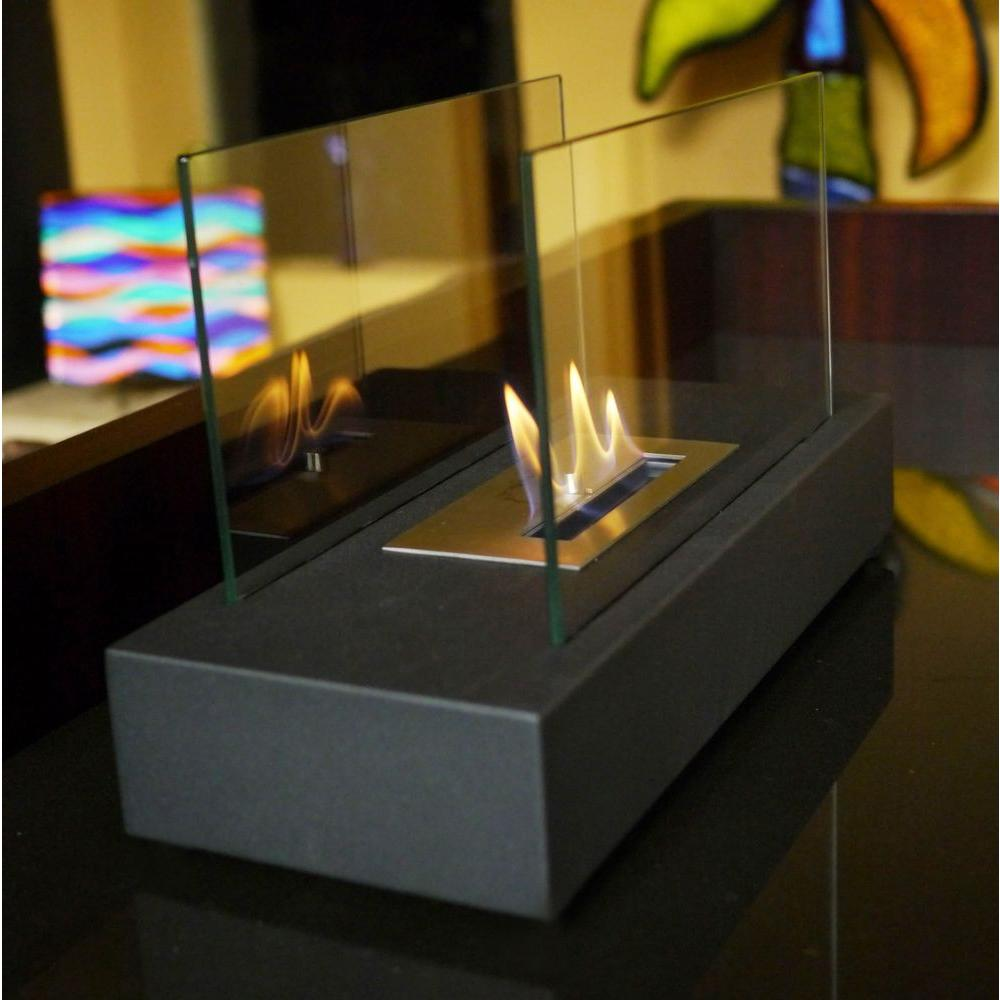 Marvelous Tabletop Decorative Bio Ethanol Fireplace In Black
