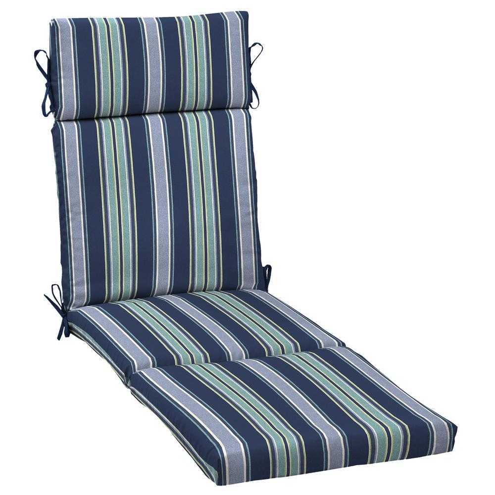 21 in. x 42.5 in. Sapphire Aurora Stripe Outdoor Chaise Lounge Cushion