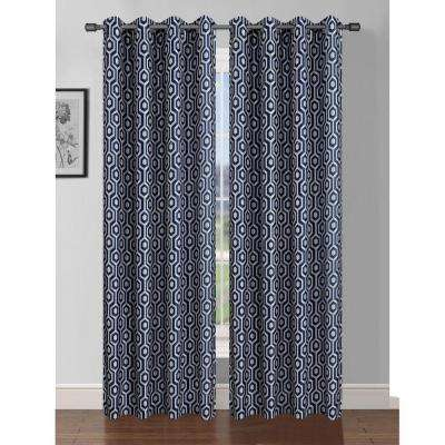 Semi-Opaque Camille Printed Faux Silk 84 in. L Grommet Curtain Panel Pair, Indigo/Linen (Set of 2)