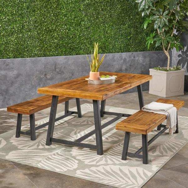 Raphael Teak Brown and Black 3-Piece Wood Outdoor Dining Set