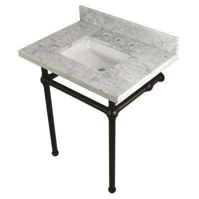 Square Sink Washstand 30 in. Console Table in Carrara with Metal Legs in Oil Rubbed Bronze