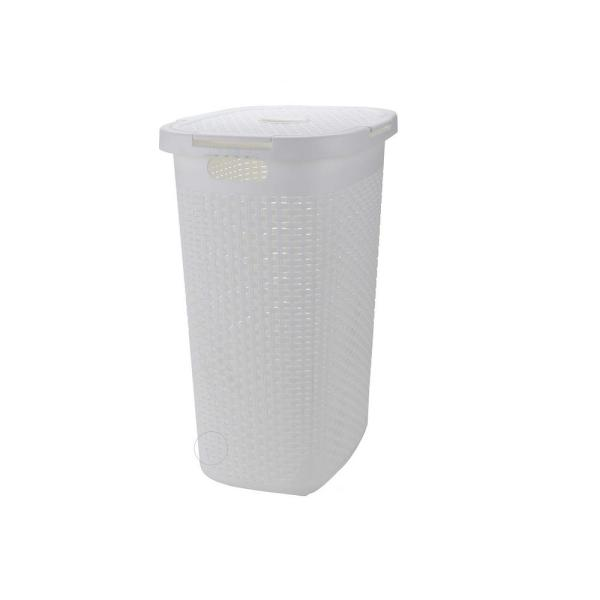 60 l White Plastic Slim Laundry Basket Laundry Hamper with Cutout Handles Dirty Clothes Storage