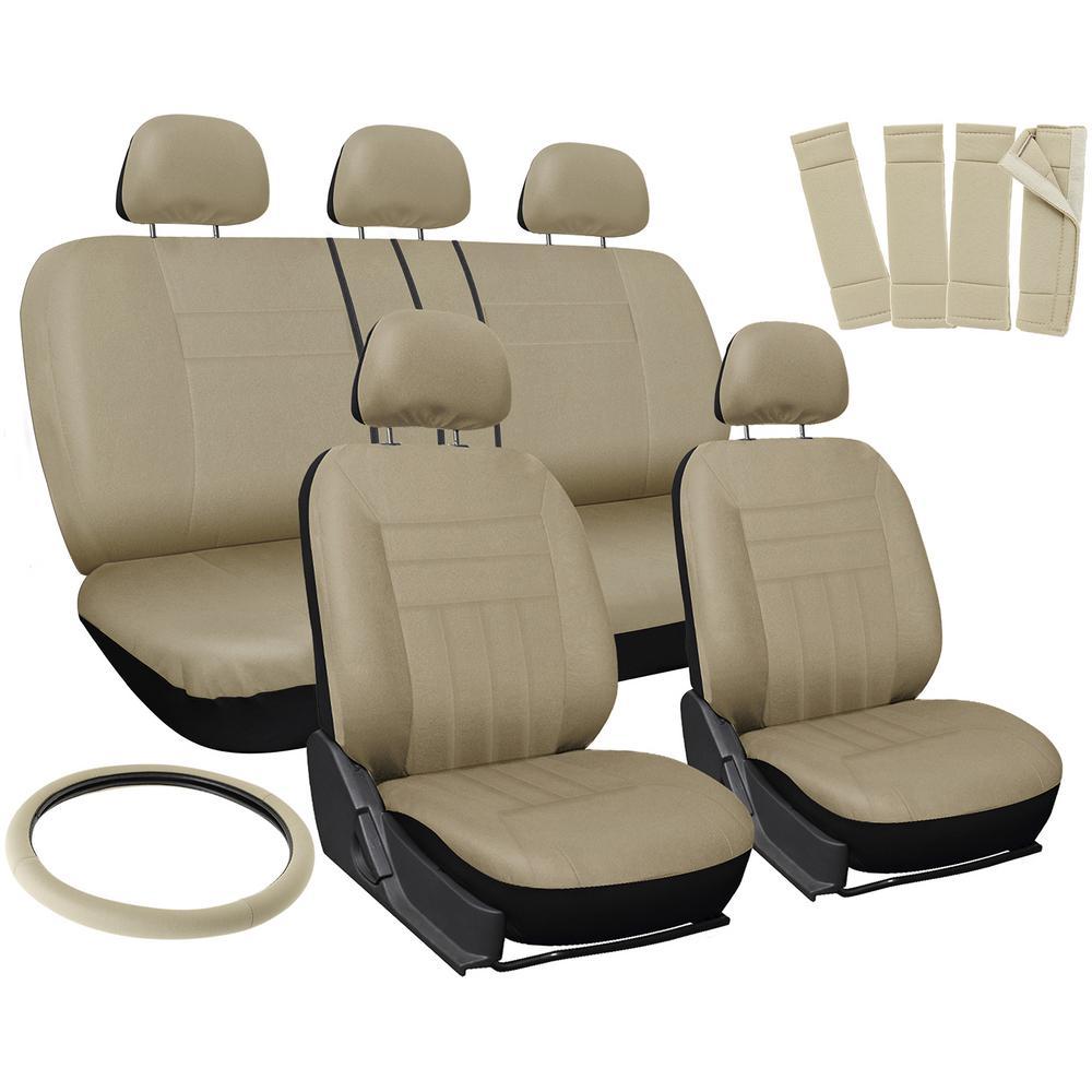 26 in. L x 21 in. W x 48 in. H 17-Piece Flat Seat Cover Set in Solid Beige