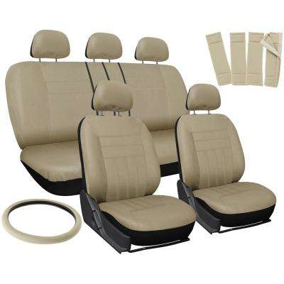 26 in. L x 21 in. W x 48 in. H 17-Piece Flat Seat Cover Set in Solid Beige