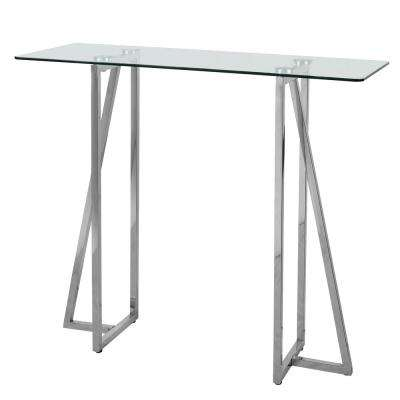 Calder Steel Glass Top Console Table