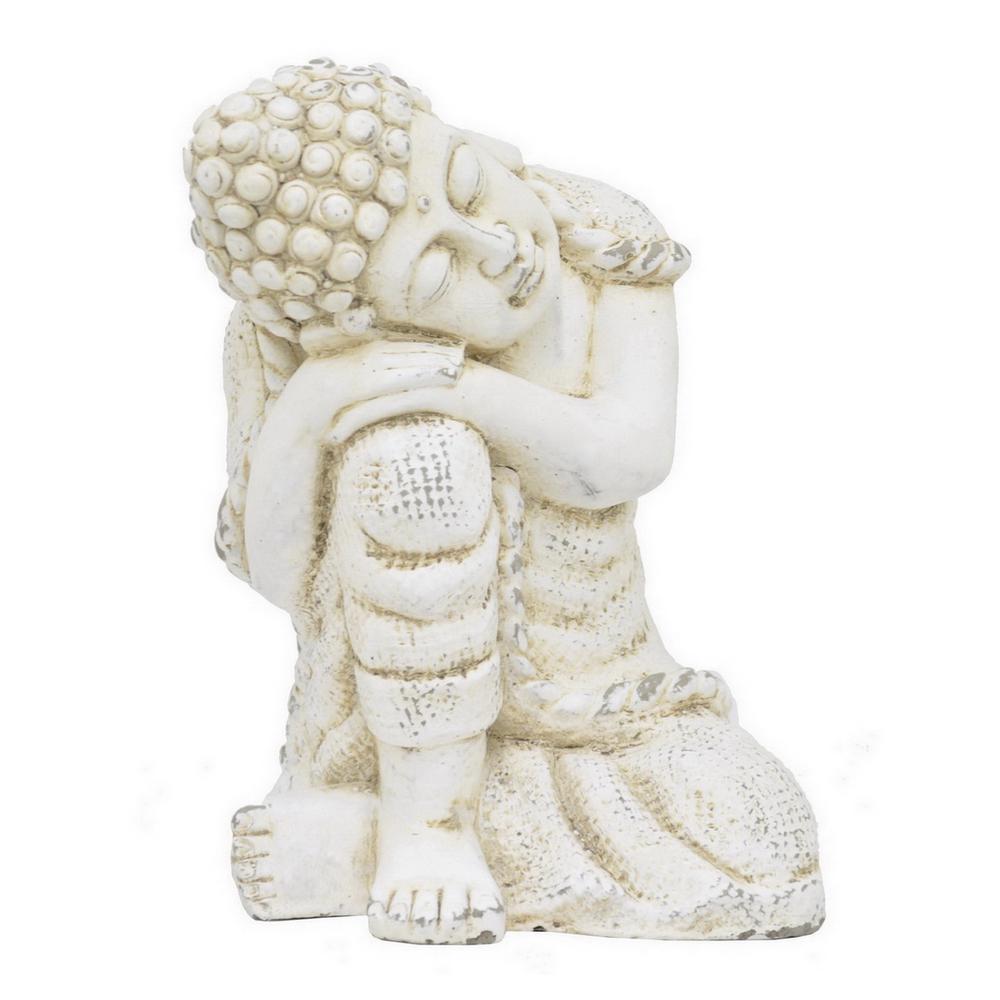 7 in. x 3.75 in. Resting Buddha in White