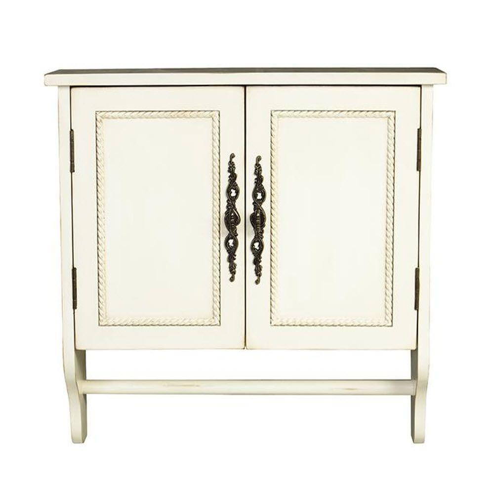 home decorators collection chelsea 24 in w x 24 in h x 8 in d bathroom storage wall cabinet with towel bar in antique the home depot