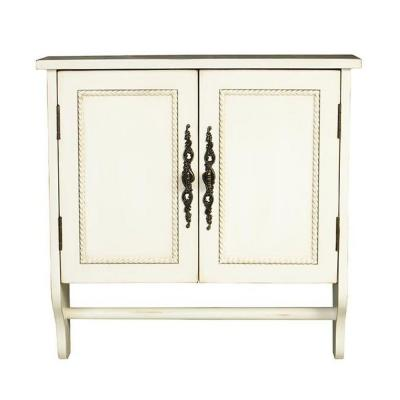 Chelsea 24 in. W x 24 in. H x 8 in. D Bathroom Storage Wall Cabinet with Towel Bar in Antique White