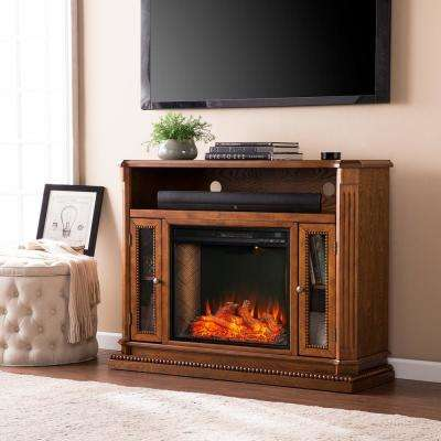 Torres Alexa Enabled 47 in. Electric Fireplace in Rich Brown Oak