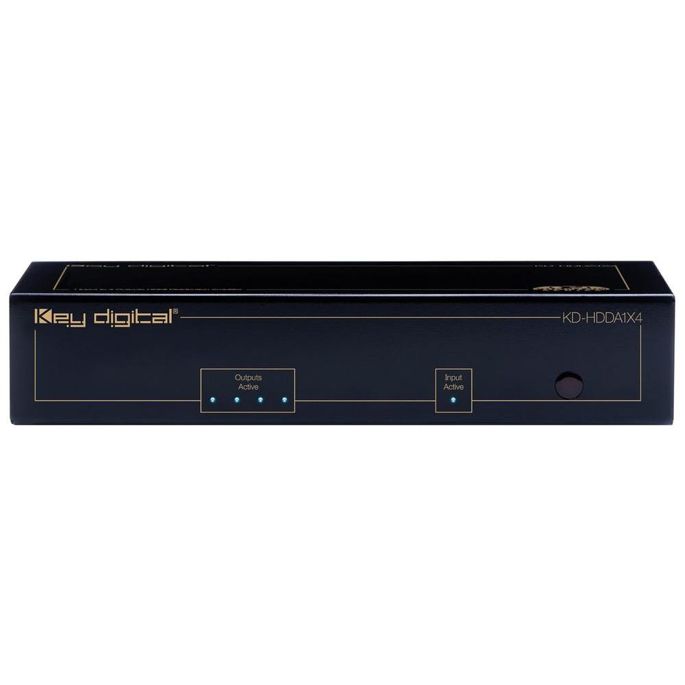 Key Digital 1 HDMI and DVI Input to 4 HDMI and DVI Outputs Distribution Amplifier-DISCONTINUED