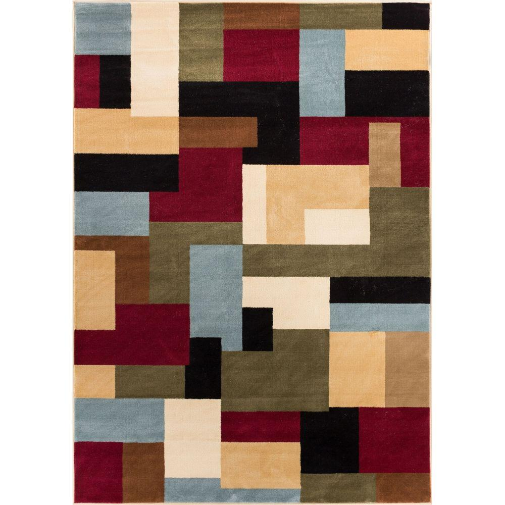 Well Woven Barclay River Red 7 Ft X 10 Modern Geometric Area Rug