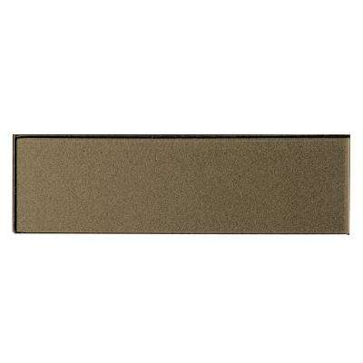 3 in. x 12 in. Secret Dimensions Bronze Glass Glossy Peel and Stick Decorative Wall Tile Backsplash Sample