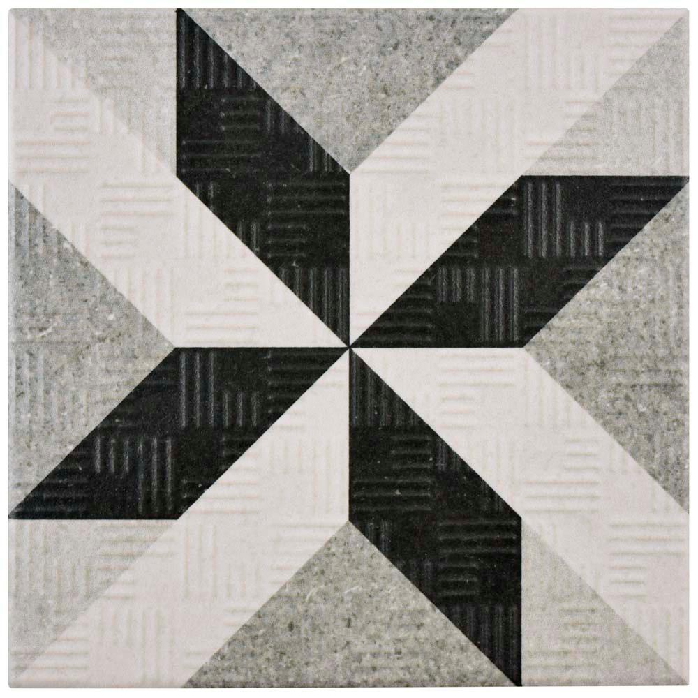 Merola Tile Area 15 Star Grey 6 In. X 6 In. Porcelain