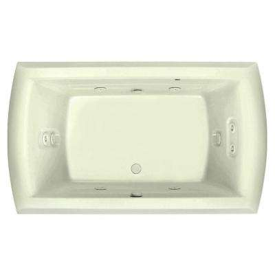 Riviera Motif 72 in. Acrylic Center Drain Rectangular Drop-in Air Bath/ Whirlpool Bathtub with Heater in Biscuit