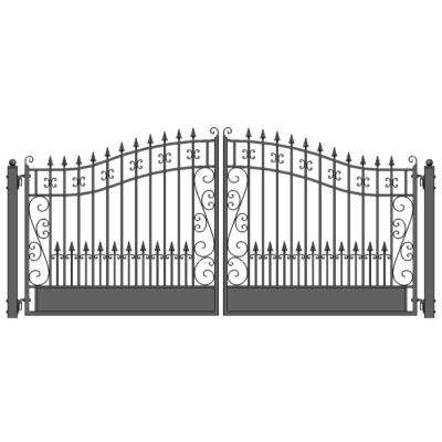 Venice Style 14 ft. x 6 ft. Black Steel Dual Driveway Fence Gate
