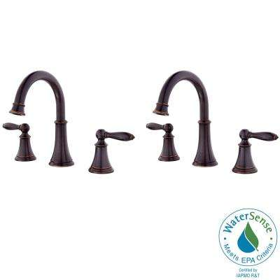 Courant 8 in. Widespread 2-Handle Bathroom Faucet in Tuscan Bronze (2-Pack Combo)
