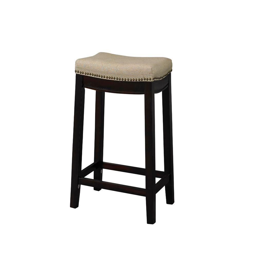 Dark Walnut Cushioned Bar Stool 98326WAL 01 KD   The Home Depot