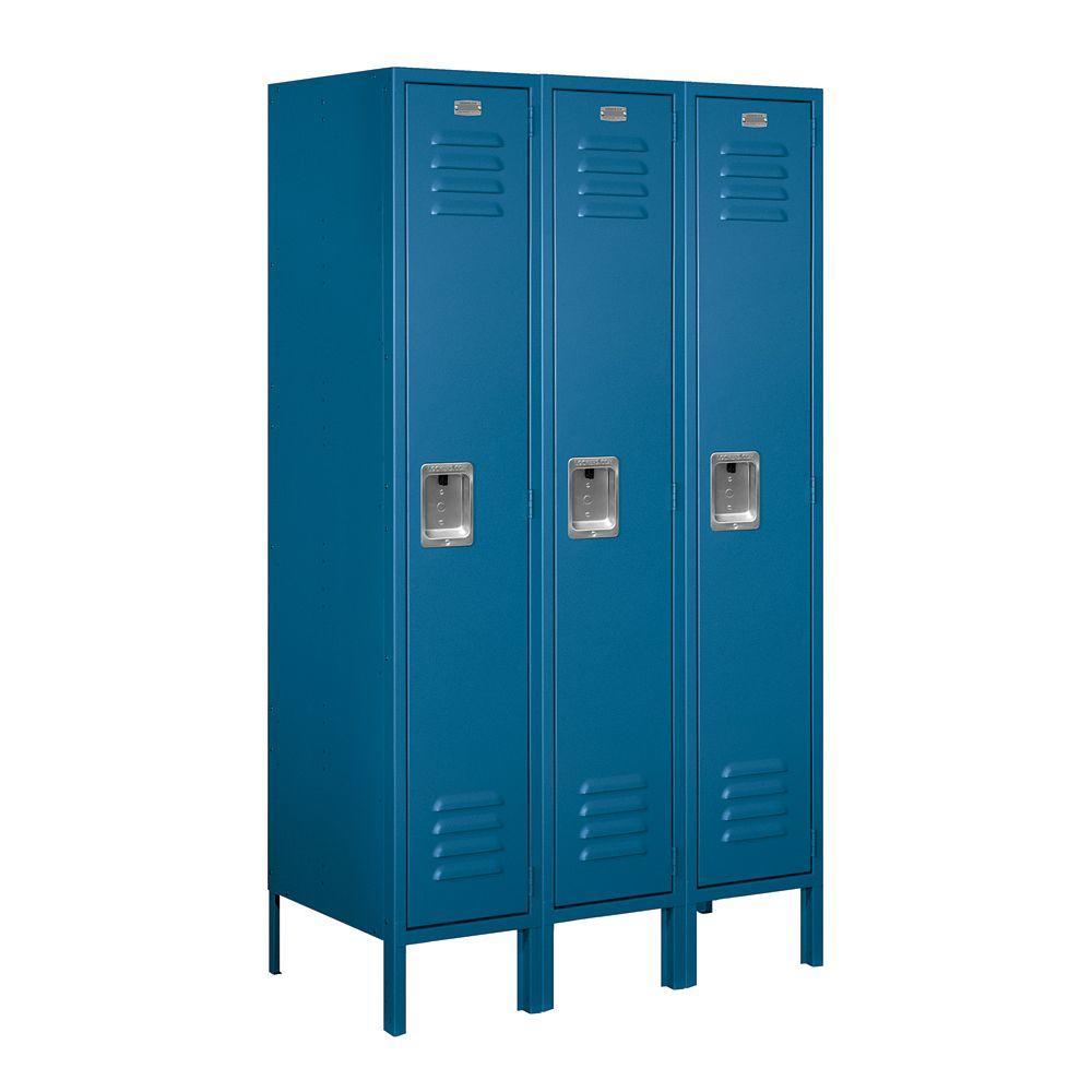 61000 Series 36 in. W x 66 in. H x 18 in. D Single Tier Metal Locker Unassembled in Blue