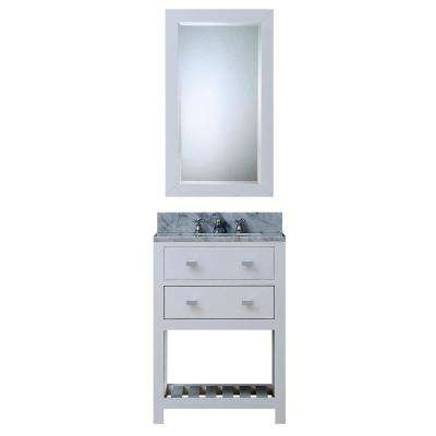 24 in. Vanity in Carrara White with Marble Vanity Top in Carrara White and Mirror
