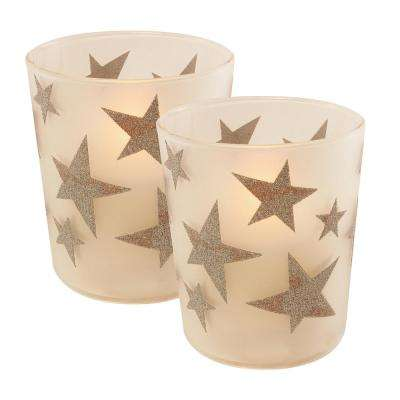 Silver Stars Battery Operated LED Candles (2-Count)
