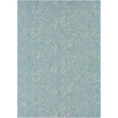 Cranleigh Aqua 5 ft. 3 in. x 7 ft. 6 in. Indoor/Outdoor Area Rug