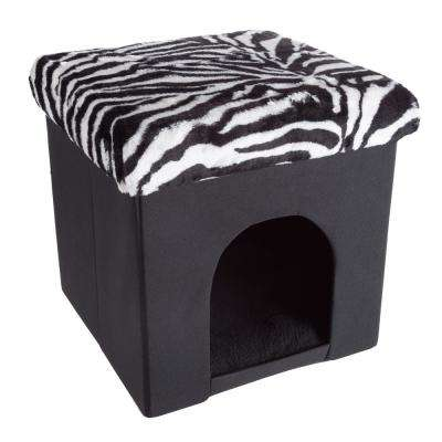 Small Zebra Print Plush Pet Ottoman Bed
