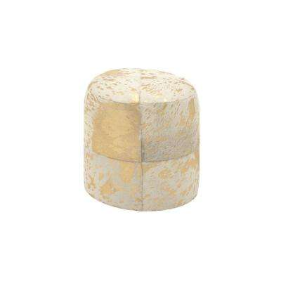 Rustic Gold and White Round Ottoman